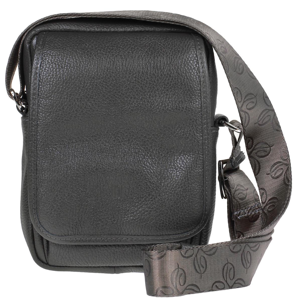Сумка женская Dimanche Classic, цвет: серый. 508/24508/24Стильная женская сумка Dimanche Classic выполнена из натуральной высококачественной кожи серого цвета. Сумка имеет одно отделение и закрывается на застежку-молнию. Внутри - накладной кармашек. На внешней стороне сумки расположен кармашек, который закрывается на молнию и дополнительно клапаном. На задней стороне сумки расположен вшитый кармашек на молнии. Внутри расположено два кармашка для телефона или мелочей. Сумка оснащена ручкой лентой. Фурнитура - серебристого цвета. Сумка упакована в фирменный текстильный мешок. Сумка женская Dimanche Shop Bag подчеркнет вашу яркую индивидуальность и сделает образ завершенным. Характеристики: Материал: натуральная кожа, текстиль, металл. Цвет: серый. Размер сумки: 22 см х 16 см х 7 см. Длина плечевого ремня: 75 см.