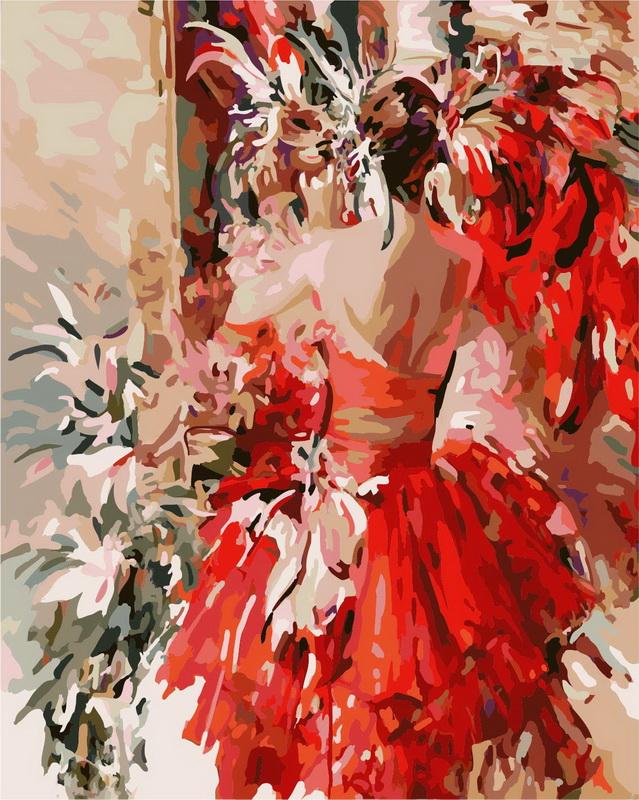 Живопись на холсте Девушка в красном, 40 х 50 см 813-AB813-AB Девушка в красномЖивопись на холсте Девушка в красном - это набор для раскрашивания по номерам акриловыми красками на холсте. В набор входят: - холст на подрамнике с нанесенным рисунком, - контрольный лист с нанесенным рисунком, - набор акриловых красок, - кисти, - настенное крепление для готовой картины. Каждая краска имеет свой номер, соответствующий номеру на картинке. Нужно только аккуратно нанести необходимую краску на отмеченный для нее участок. Таким образом, шаг за шагом у вас получится великолепная картина. С помощью серии наборов Живопись на холсте вы можете стать настоящим художником и создателем прекрасных картин. Вы получите истинное удовольствие от погружения в процесс творчества и созданные своими руками картины украсят интерьер вашего дома или станут прекрасным подарком. Техника раскрашивания на холсте по номерам дает возможность легко рисовать даже сложные сюжеты. Прекрасно развивает художественный вкус, аккуратность и...