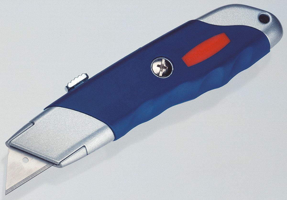Нож Rubbermaid Utility Knife с выдвижным трапециевидным лезвием10504595Нож Rubbermaid Utility Knife с выдвижным трапециевидным лезвием и c системой фиксации лезвия предназначен для работы с бумагой, плотным картоном, пленкой и т.д. Корпус ножа выполнен из металла и пластика. Выдвижное лезвие изготовлено из высококачественной нержавеющей стали. Имеет систему быстрой замены лезвия.