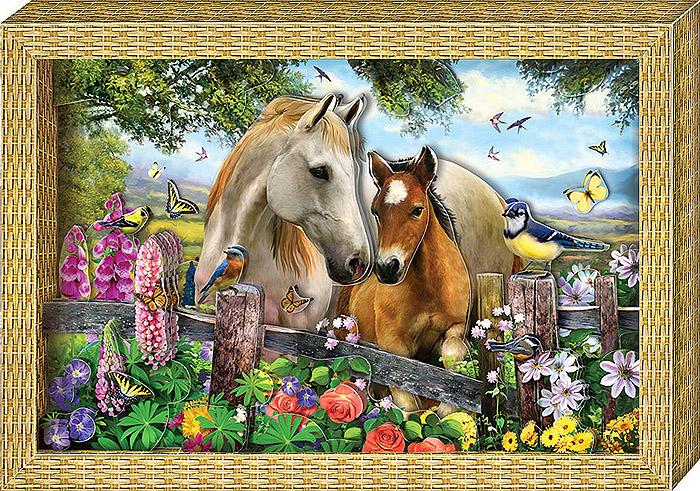 Набор для изготовления объемной картины Я люблю лошадокАБ 21-115С набором для создания объемной картины Я люблю лошадок ребенок сможет сделать своими руками оригинальную картину с изображением лошадок, а также цветочков, птичек, бабочек, забора и природы, используя технику 3D-аппликации. Собрать картину без клея и ножниц легко и приятно: все детали готовы и пронумерованы в порядке, в котором их надо наклеить, метки для скотча указаны на обороте деталей. Нужно просто наклеить детали, слой за слоем, на фон. Набор включает в себя 38 элементов, готовую рамку из плотного картона и двусторонний объемный скотч. Работа с набором поможет ребенку развить координацию, мелкую моторику рук, аккуратность, а также научиться самостоятельно подбирать детали по их изображению и контуру и складывать трехмерное изображение из частей, составляя перспективу.