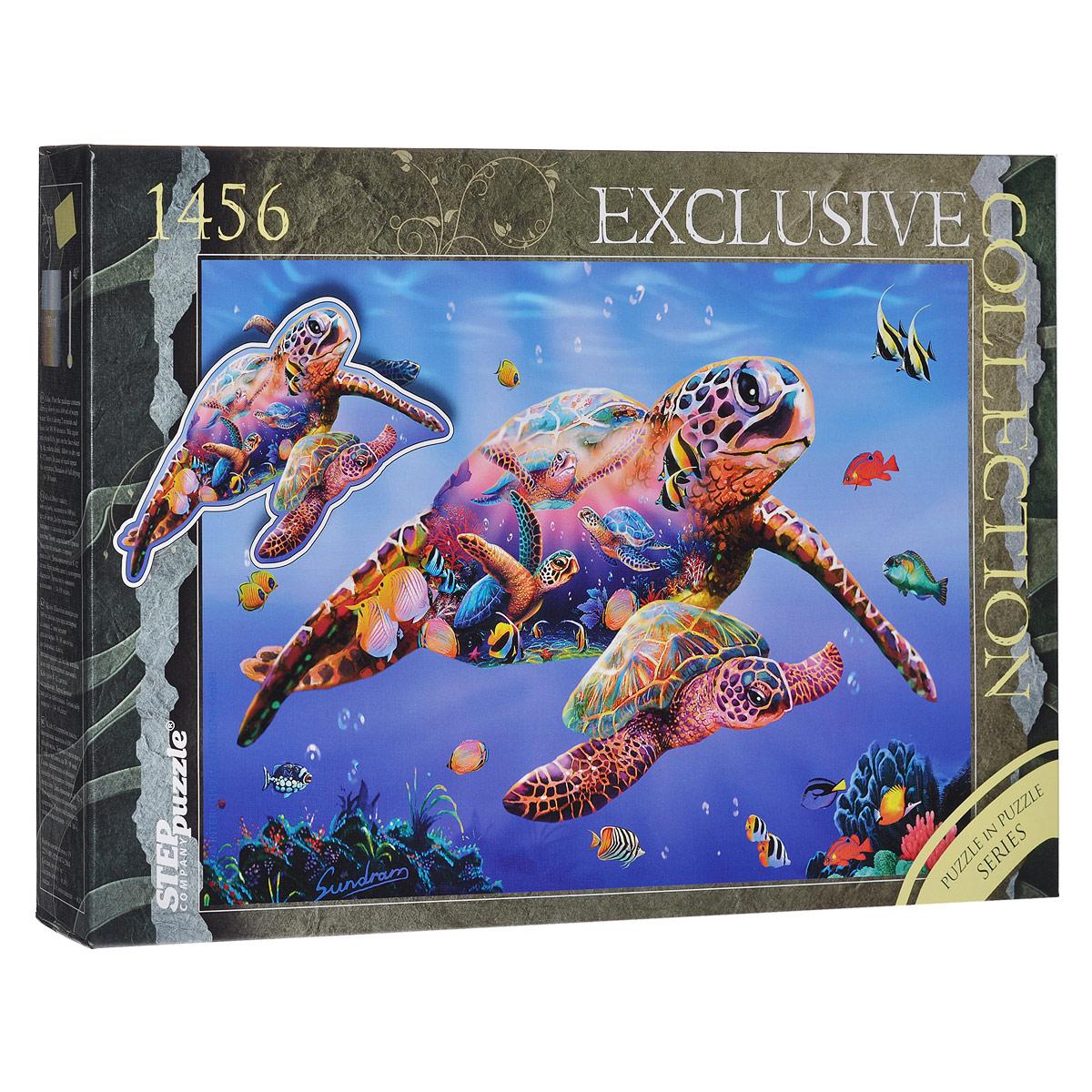 Черепаха. Пазл, 1456 элементов83506Пазл в пазле «Черепаха», без сомнения, придется вам по душе. Собрав этот пазл, включающий в себя 1456 элементов, вы получите великолепную картину с изображением морских черепах, плывущих в океане. В комплект входит специальный клей для пазлов. Клей скрепляет пазл, придает ему сходство с цельной картиной. Пазл - великолепная игра для семейного досуга. Сегодня собирание пазлов стало особенно популярным, главным образом, благодаря своей многообразной тематике, способной удовлетворить самый взыскательный вкус. А для детей это не только интересно, но и полезно. Собирание пазла развивает мелкую моторику у ребенка, тренирует наблюдательность, логическое мышление, знакомит с окружающим миром, с цветом и разнообразными формами.