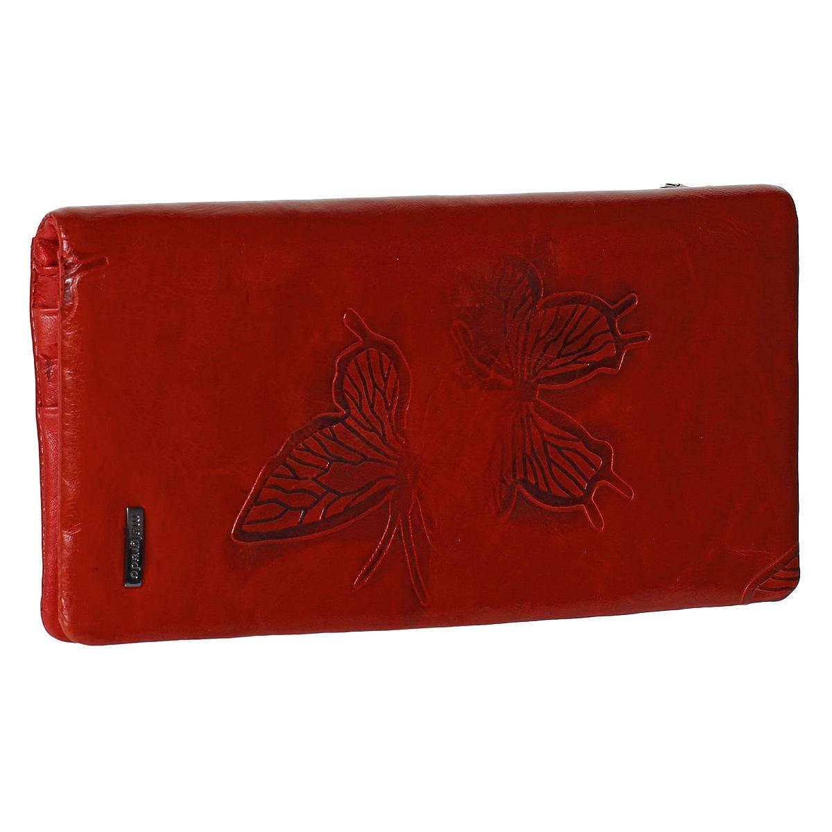 Кошелек женский Malgrado, цвет: красный. 73039M-7003D73039M-7003D RedКошелек Malgrado изготовлен из натуральной кожи красного цвета, оформленной тисненым изображением бабочек. Купюры вмещаются в полную длину. Закрывается кошелек на кнопку. Внутри расположено одно отделение для купюр, два потайных отделения для бумаг, прозрачное окошко для фотографии и 11 кармашков для пластиковых карт и визиток. С задней стороны содержится отделение на молнии для мелочи. Такой кошелек стильно дополнит ваш образ и станет незаменимым аксессуаром. Кошелек упакован в подарочную металлическую коробку синего цвета.