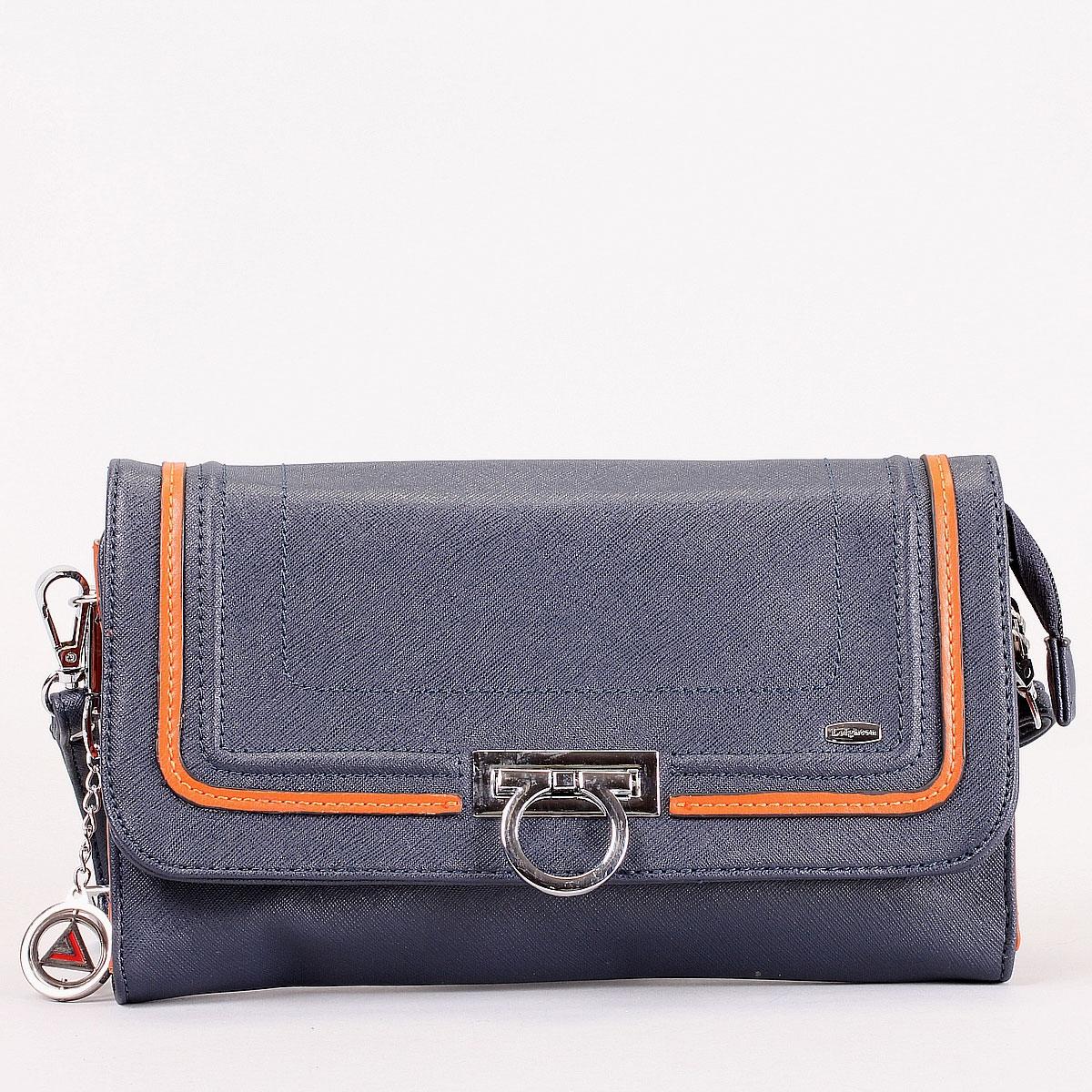 Клатч Leighton, цвет: синий, оранжевый. 570306-3769570306-3769/4/1166/813Модный клатч Leighton выполнен из искусственной кожи с фактурным тиснением и отделкой из оранжевой кожи. Клатч имеет одно отделение, закрывающееся на застежку-молнию и сверху широким клапаном. Внутри - смежный карман на молнии, два накладных кармана для мелочей и шесть наборных кармашков для кредитных карт. С внешней стороны на задней стенке сумки расположен вшитый карман на молнии. Клатч оснащен плечевым ремнем регулируемой длины. Фурнитура - серебристого цвета. Стильный клатч станет финальным штрихом в создании вашего неповторимого образа. Характеристики: Материал: искусственная кожа, текстиль, металл. Цвет: синий, оранжевый. Размер клатча (ДхШхВ): 26 см х 15 см х 3 см. Длина ремня (регулируется): 60 см.