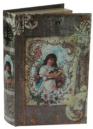 Шкатулка-фолиант Девочка, цвет: бежевый, 26 х 16,5 х 4,5 см 184172184177Шкатулка-фолиант выполнена в виде старинной книги. Оригинальное оформление шкатулки, несомненно, привлечет к себе внимание. Поверхность шкатулки-фолианта выполнена из кожзаменителя и оформлена изображением девочки с котенком. Внутри шкатулка отделана кожзаменителем. Такая шкатулка может использоваться для хранения бижутерии, в качестве украшения интерьера, а также послужит хорошим подарком для человека, ценящего практичные и оригинальные вещицы.