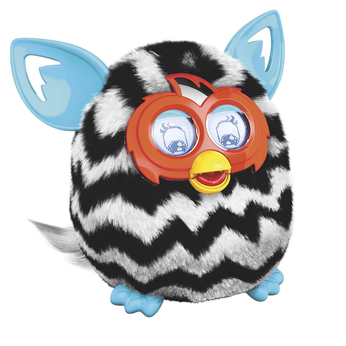 Furby (Фёрби) Boom Интерактивная игрушка Теплая волна (Рисунок зигзаг)A6418_A4342_SolidНовый Ферби, Новое приложение, Новые игры! Осенью 2014! Furby (Ферби) - это уникальная интерактивная игрушка, которая станет отличным подарком и другом, как для детей, так и для взрослых. Интерактивный домашний питомец ответит взаимностью на дружеское общение. Разговаривает игрушка на языке Ферби и русском языке. У Ферби большие торчащие ушки, способные дергаться и вибрировать, а глаза представляют собой пару интерактивных ЖК-экранов с подсветкой и механическими веками. Это позволяет игрушке достаточно реалистично моргать, озираться и мимически реагировать на звуки. Разговаривайте с Ферби, располагайте его лицом к себе, чем вы ближе к игрушке, тем легче Ферби вас услышать. Чтобы он лучше на вас реагировал, выключите все фоновые шумы. Кормите Ферби с помощью пальца, закомте его с другими Ферби, трясите, разговаривайте, качайте, включайте для него музыку, держите его, переворачивайте, гладьте и щекочите животик или тяните за хвост. Чтобы Ферби...