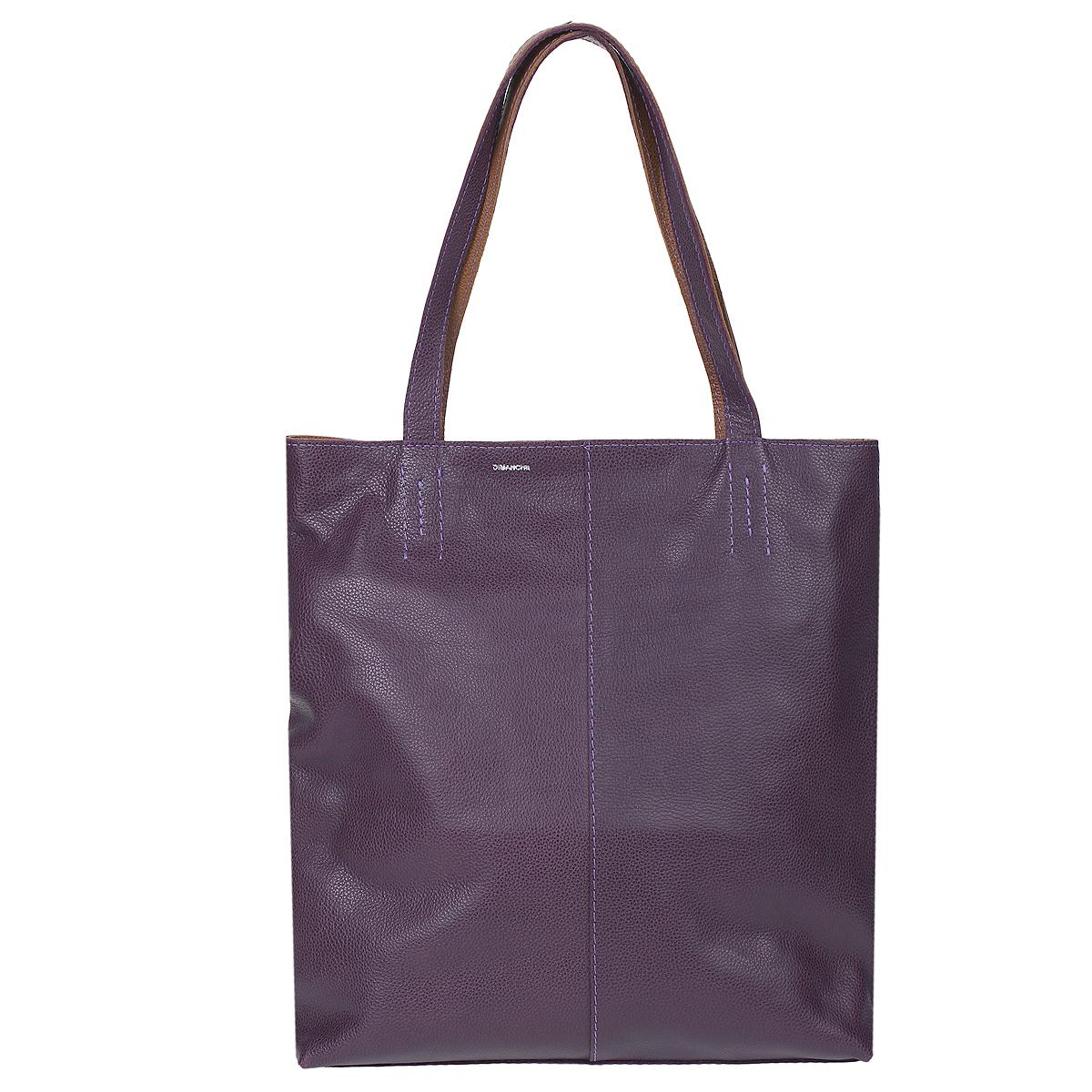 Сумка женская Dimanche Shop Bag, цвет: фиолетовый. 440440Стильная женская сумка Dimanche Shop Bag выполнена из натуральной высококачественной кожи фиолетового цвета. Сумка имеет одно отделение и закрывается на застежку-молнию. Внутри - два кармана на молнии и один открытый кармашек. Сумка оснащена двумя удобными ручками. Фурнитура - серебристого цвета. Сумка упакована в фирменный текстильный мешок. Сумка женская Dimanche Shop Bag подчеркнет вашу яркую индивидуальность и сделает образ завершенным.