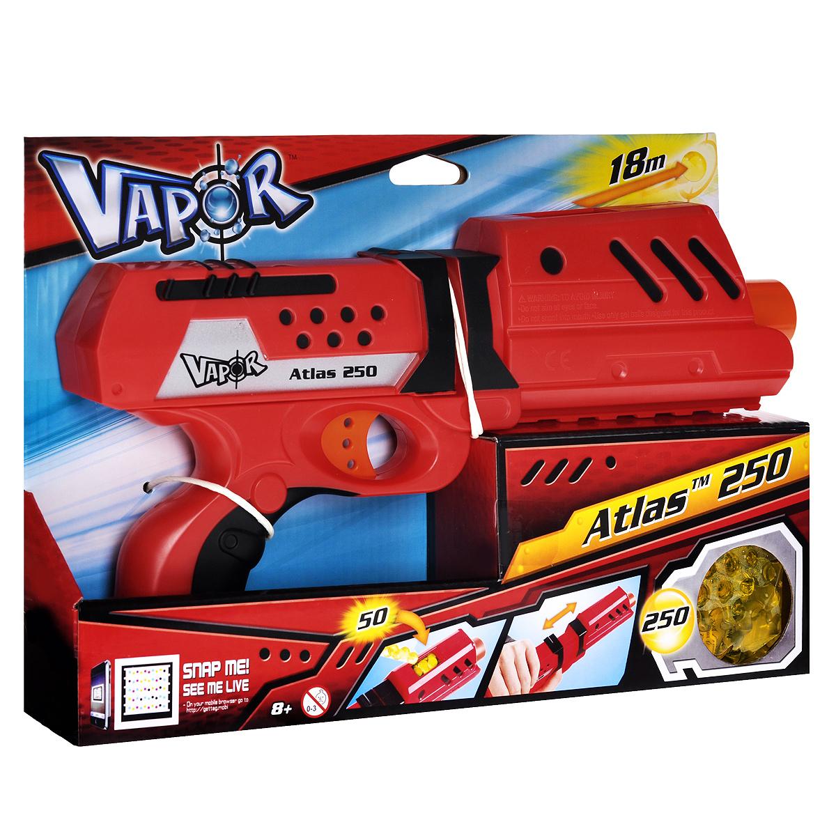Бластер Vapor Атлас 250, с пульками, цвет: красный10073791Бластер Vapor Атлас 250 позволит вашему ребенку почувствовать себя во всеоружии! Он выполнен из прочного безопасного пластика красного и черного цветов. Бластер стреляет на расстояние до 18 метров. Комплект включает в себя бластер с отсеком на 50 зарядов и 250 гелевых пулек. Пульки представляют собой гелевые шарики, состоящие из воды и полимера. При попадании они безобидно отскакивают от предметов или рассыпаются на частички, не нанося никакого вреда и не оставляя мокрых пятен. Игра с бластером Атлас 250 поможет ребенку в развитии меткости, ловкости, координации движений и сноровки.