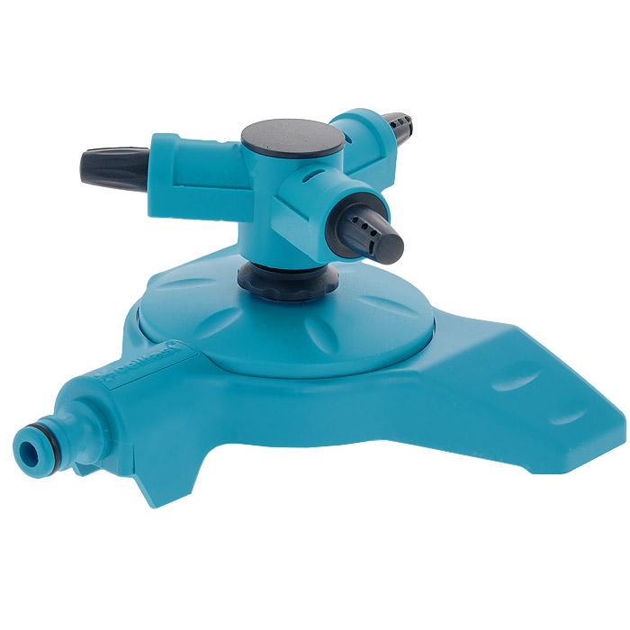 Разбрызгиватель вращающийся Cellfast Twister, 3 сопла50-460Вращающийся разбрызгиватель Cellfast Twister применяется для орошения почвы. Присоединяется к шлангу при помощи универсального соединителя. Совместим со всеми элементами аналогичной поливочной системы. Имеет 3 сопла. Характеристики: Материал: пластик. Цвет: голубой. Размер оросителя (ДхШхВ): 18 см х 18 см х 9 см. Дальность полива: 15 м.