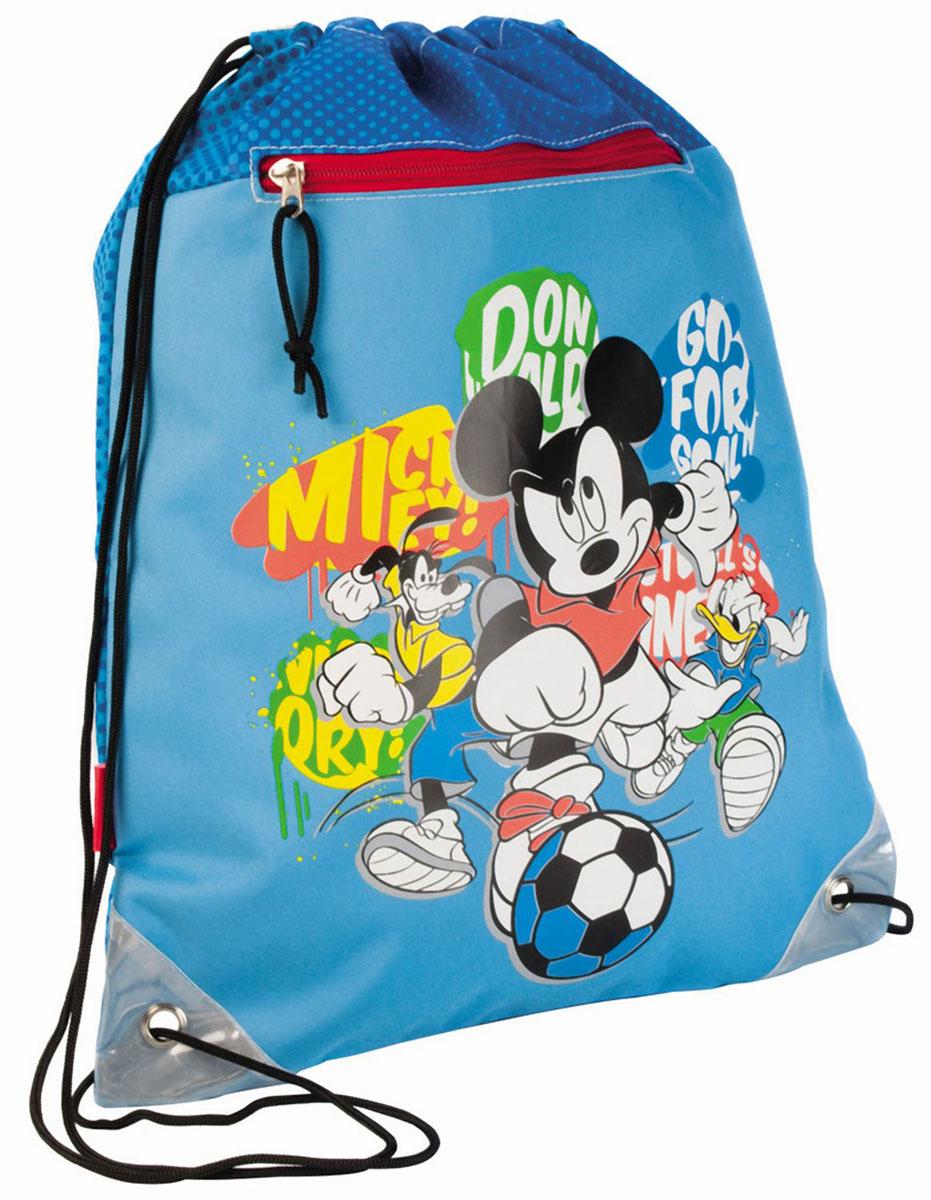 Сумка для сменной обуви Disney Mickey, цвет: голубой32702Сумку Disney Mickey удобно использовать как для хранения, так и для переноски сменной обуви. Сумка выполнена из прочного полиэстера голубого цвета и оформлена принтом с изображением персонажей мультфильма Disney. На лицевой стороне расположен прорезной карман, закрывающийся на застежку-молнию. Сумка затягивается сверху при помощи текстильных шнурков. Шнурки фиксируются в нижней части сумки, благодаря чему ее можно носить за спиной как рюкзак. Светоотражающие вставки на сумке не оставят вашего ребенка незамеченным в темное время суток.