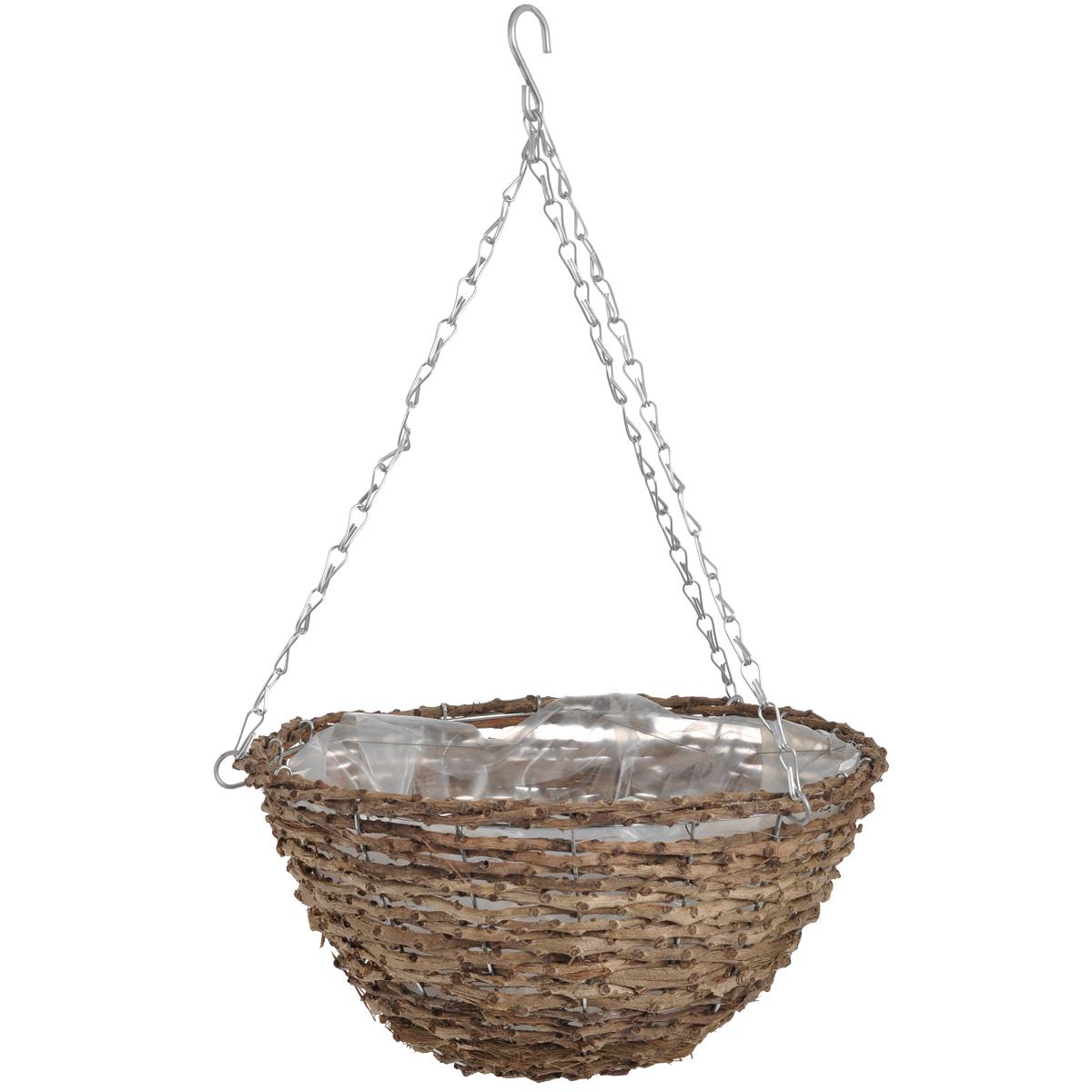 Корзина подвесная для цветов Gardman, диаметр 35 см. 0203502035Подвесная плетеная корзина Gardman изготовлена из рустика. Каркас выполнен из металла. Корзина уже оснащена специальной пленкой и полностью готова для посадки растений. Прекрасно подходит для цветов. Подвешивается с помощью специальной тройной металлической цепи с крючком. Кашпо часто становятся последним штрихом, который совершенно изменяет интерьер помещения или ландшафтный дизайн сада. Благодаря такому кашпо вы сможете украсить вашу комнату, офис или сад.