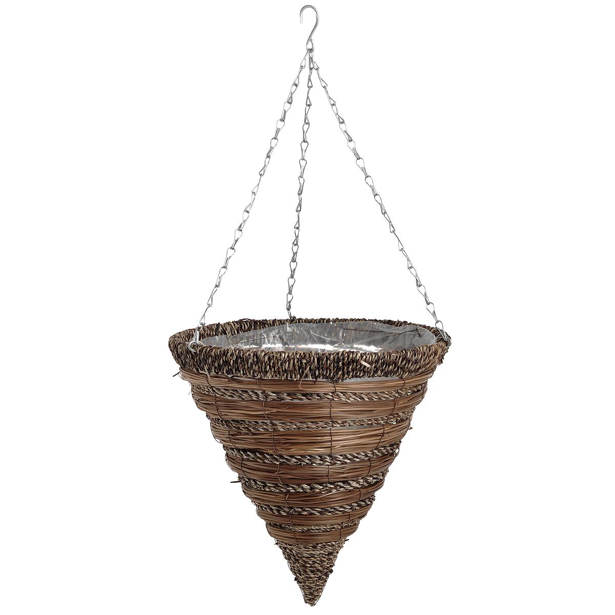 Корзина подвесная для цветов Gardman, диаметр 35 см. 0277002770Подвесная плетеная корзина Gardman в форме конуса изготовлена из сизаля. Каркас выполнен из металла. Корзина уже оснащена специальной пленкой и полностью готова для посадки растений. Прекрасно подходит для цветов. Подвешивается с помощью специальной тройной металлической цепи с крючком. Кашпо часто становятся последним штрихом, который совершенно изменяет интерьер помещения или ландшафтный дизайн сада. Благодаря такому кашпо вы сможете украсить вашу комнату, офис или сад.