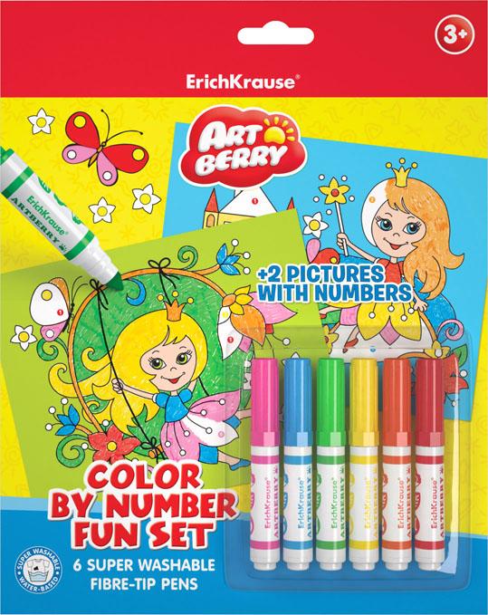 Набор для творчества Erich Krause Artberry for girls, 8 предметов4041485349143Наборы для творчества с раскрасками по номерам. В комплекте раскрасок по номерам предлагается 2 шаблона с контурными рисунками и 6 разноцветных мини фломастеров с утолщенным корпусом. Задача ребенка - аккуратно раскрасить картинку, следуя нумерации. Необходимый номер цвета указан на шаблоне картины и на корпусах фломастеров. Раскрашивание по номерам развивает усидчивость, моторику пальцев, терпение и трудолюбие, а также знакомит с цифрами.