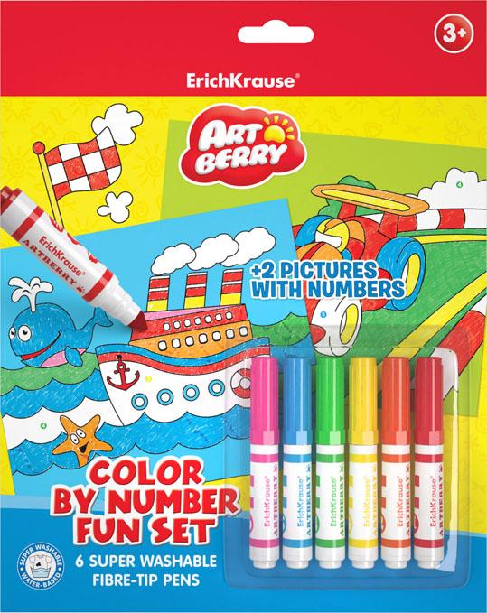 Набор для творчества Erich Krause Artberry for boys, 8 предметов4041485349150Наборы для творчества с раскрасками по номерам. В комплекте раскрасок по номерам предлагается 2 шаблона с контурными рисунками и 6 разноцветных мини фломастеров с утолщенным корпусом. Задача ребенка - аккуратно раскрасить картинку, следуя нумерации. Необходимый номер цвета указан на шаблоне картины и на корпусах фломастеров. Раскрашивание по номерам развивает усидчивость, моторику пальцев, терпение и трудолюбие, а также знакомит с цифрами.