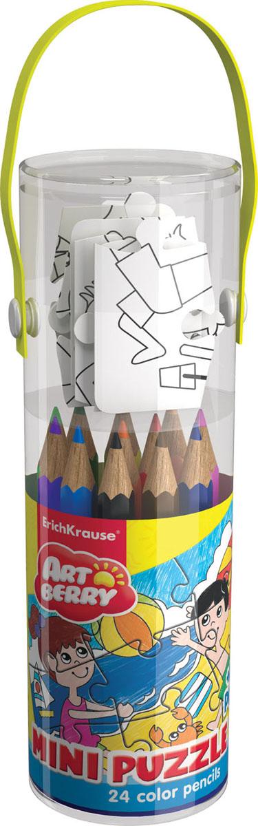 Набор для творчества Artberry Mini Puzzle Set (24 цветных карандаша + пазл для раскрашивания)4041485349709Наборы для творчества Artberry с цветными карандашами и пазлами для раскрашивания. В игровом наборе с пазлами необходимо сначала собрать забавную картинку из 9 элементов, а затем раскрасить ее фломастерами, цветными карандашами или восковыми мелками по образцу, указанному в наборе. Такого рода занятия развивают у детей творческие навыки, вырабатывают усидчивость и внимание. Набор упакован в прозрачный пластиковый тубус с удобной ручкой. В комплект входит: 24 цветных карандаша и пазл.