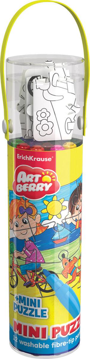 Набор для творчества Artberry Mini Puzzle Set (12 фломастеров + пазл для раскрашивания)4041485349716Наборы для творчества Artberry с пазлами для раскрашивания. В игровом наборе с пазлами необходимо сначала собрать забавную картинку из 9 элементов, а затем раскрасить ее фломастерами, цветными карандашами или восковыми мелками по образцу, указанному в наборе. Такого рода занятия развивают у детей творческие навыки, вырабатывают усидчивость и внимание. Набор упакован в прозрачный пластиковый тубус с удобной ручкой. В комплект входит: 12 фломастеров и пазл.