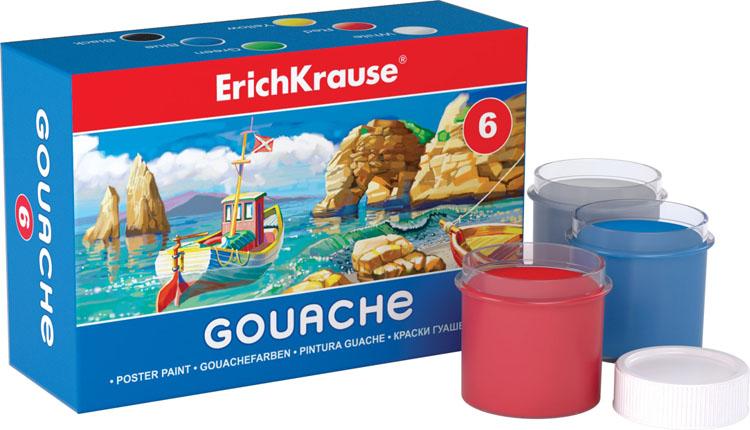Гуашь Erich Krause, 6 цветов35158Гуашь Erich Krause предназначена для декоративно-оформительских работ и творчества детей. В набор входят краски 6 ярких цветов: белого, красного, зеленого, синего, желтого, черного. Каждая баночка с гуашью закрывается винтовой крышкой. Краски легко наносятся на бумагу и картон, они легко размываются водой и быстро сохнут. Рисование не просто подарит радость вашему малышу, но и поможет ему стать более усидчивым и наблюдательным, развивая способность видеть мир во всех его красках и оттенках. Размер баночки с краской: 3,5 см x 3,5 см x 4 см.
