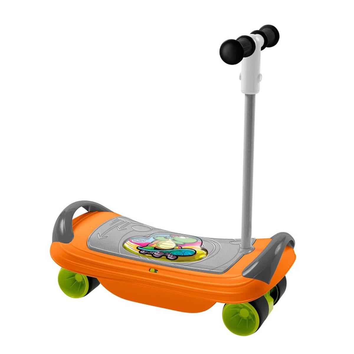 Игрушка-каталка Chicco Скейт00005227000000Игрушка-каталка Chicco Скейт - это прекрасный тренажер для физического развития ребенка. Она представляет собой широкую доску с поручнями, к которой снизу крепится рама с колесами. Игрушка выполнена из прочного безопасного пластика и может использоваться в качестве доски для баланса, скейта или самоката. В качестве доски для баланса (баланс борда) игрушка предназначена для ребенка в возрасте от 18 месяцев. Он сможет на ней сидеть, удерживаясь за боковые поручни и стараясь удержать равновесие, развивая координацию. Начиная с трехлетнего возраста малыш сможет использовать баланс борд в положении стоя. В конфигурации баланс борда игрушка предусматривает два электронных режима игры: Режим 1: Ребенок качается на доске из стороны в сторону и слушает веселые мелодии; Режим 2: В то время, когда ребенок удерживает равновесие, играет музыка. Если малыш теряет равновесие, музыка прерывается. Для того, чтобы конфигурировать игрушку в самокат, необходимо...