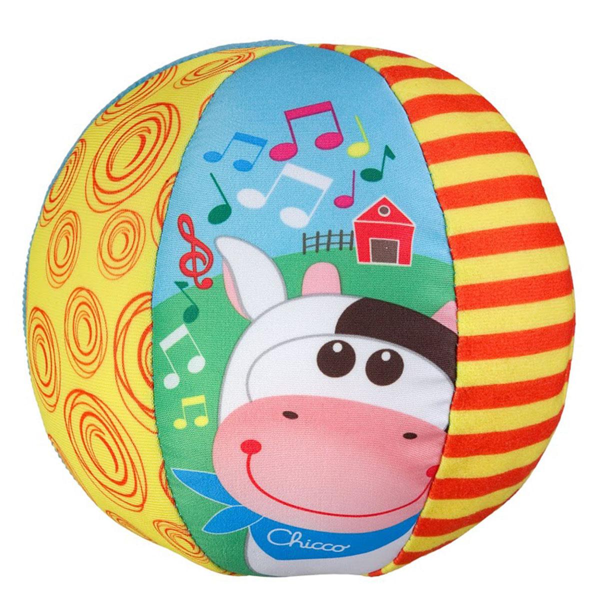 Развивающая игрушка Chicco Музыкальный мяч00005836000000Развивающая игрушка Chicco Музыкальный мяч привлечет внимание вашего малыша и не позволит ему скучать! Мягконабивной мяч выполнен из текстильного материала разных цветов и фактур. Его форма удобна для держания и хватания маленькими детскими ручками. Достаточно ребенку потрясти игрушку, и она порадует кроху веселыми мелодиями. Малыш сможет катить яркий мячик перед собой, что будет стимулировать ребенка к движениям. Игрушка Музыкальный мяч поможет малышу развить цветовое и звуковое восприятие, тактильные ощущения, мышление, мелкую моторику рук и координацию движений. Необходимо докупить 2 батареи напряжением 1,5V типа ААА (не входят в комплект).