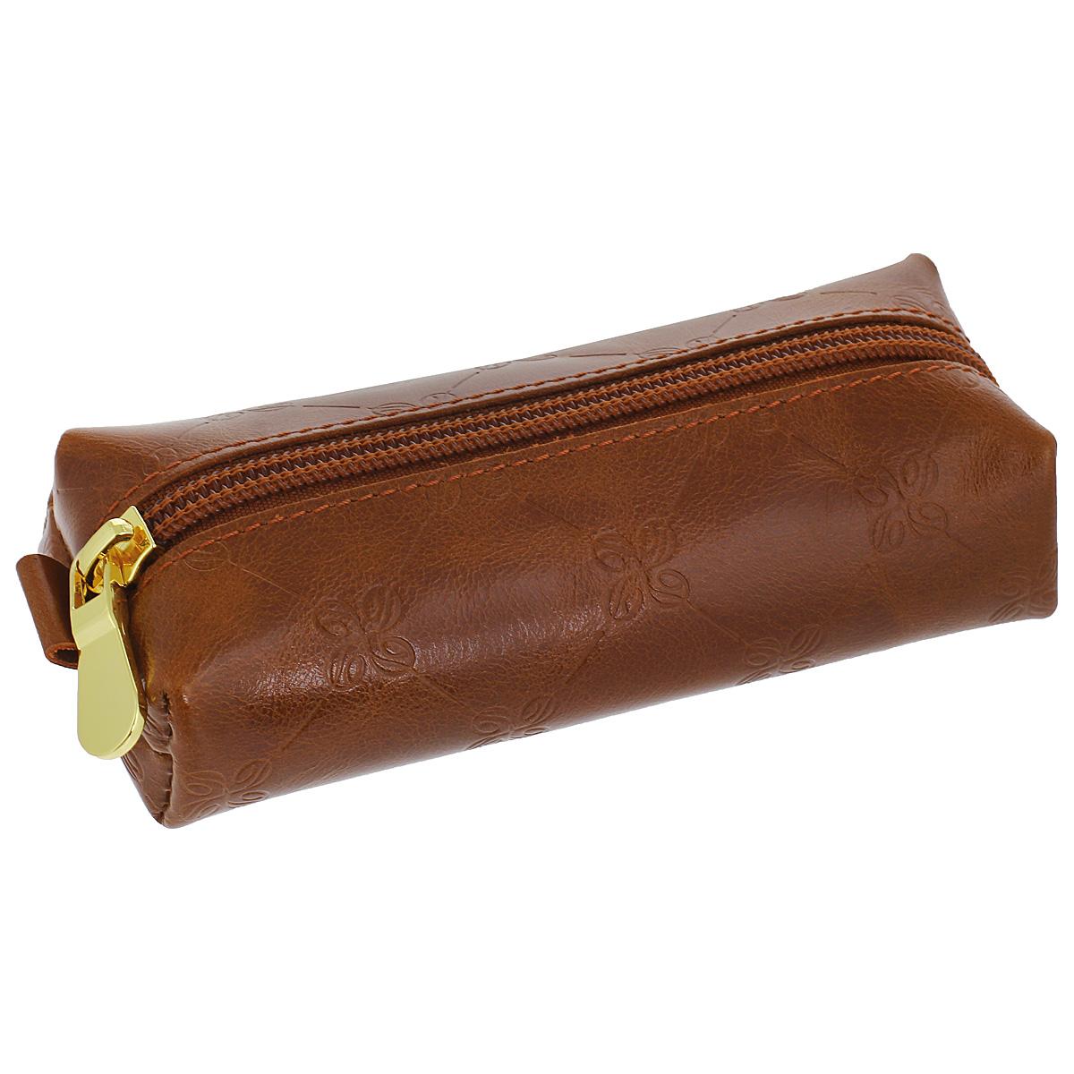 Ключница Dimanche Louis Brun, цвет: коричневый. 609609Компактная ключница Louis Brun - стильная вещь для хранения ключей. Ключница выполнена из натуральной кожи. Состоит из одного отделения, закрывающегося на застежку-молнию. Внутри ключницы на кожаной петле крепится металлическое кольцо для ключей.