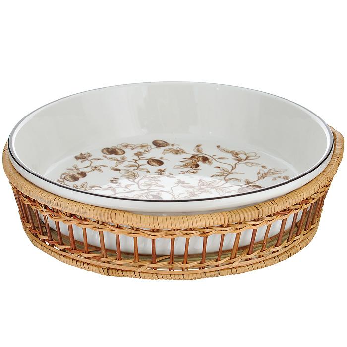 Блюдо Bekker, в корзине, цвет: белый, коричневый, диаметр 28 см. BK-7000BK-7000 коричневыйБлюдо Bekker изготовлено из жаропрочной керамики белого цвета. Внутренняя поверхность изделия украшена изящным узором коричневого цвета. В комплекте - плетеная корзина под блюдо. Подходит для приготовления блюд в СВЧ-печи и духовом шкафу.
