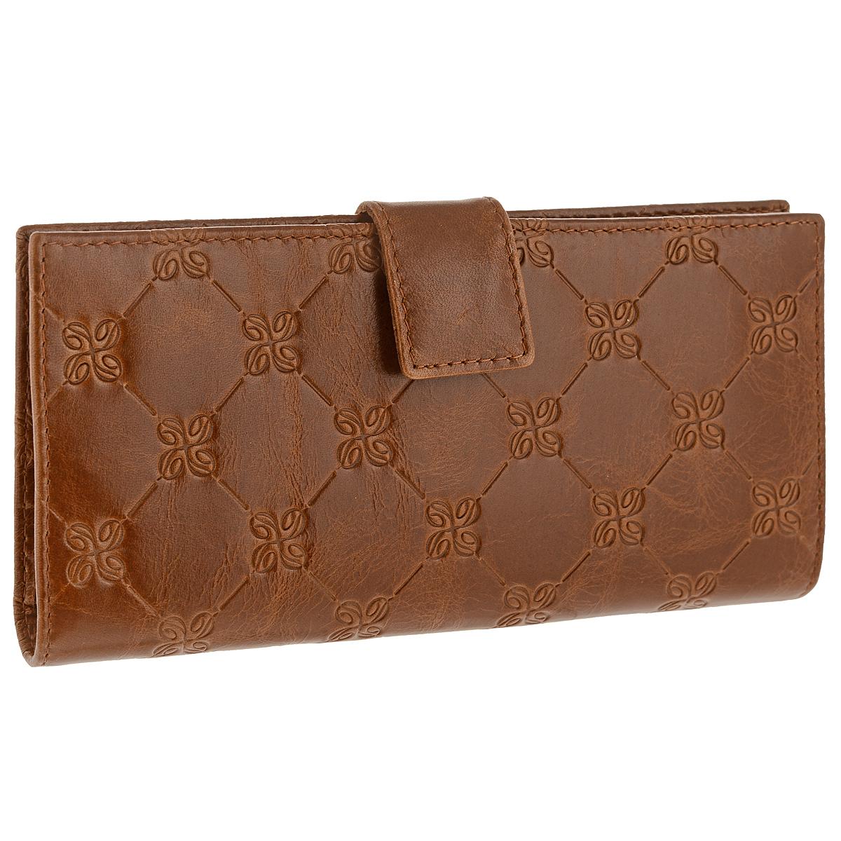 Портмоне женское Louis Brun Dimanche Optima, цвет: коричневый. 342342Стильное женское портмоне Optima выполнено из высококачественной натуральной кожи с тиснением. Портмоне закрывается при помощи хлястика на кнопку. Внутри - четыре отделения для купюр, одиннадцать кармашков для визиток, карман на молнии для монет и два кармашка для sim-карт. Портмоне упаковано в фирменную картонную коробку. Характеристики: Материал: натуральная кожа, текстиль, металл. Размер портмоне: 18,5 см х 8,5 см х 3 см. Цвет: коричневый.