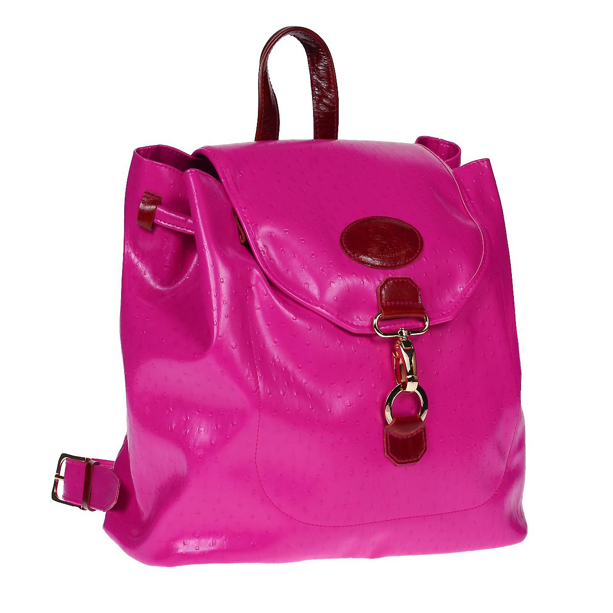 Рюкзак Dimanche, цвет: фуксия. 466/3466/3Стильный молодежный рюкзак Dimanche выполнен из искусственной кожи цвета фуксии с декоративным тиснением под страуса. Рюкзак имеет одно основное отделение, которое затягивается шнурком и дополнительно клапаном на замок-карабин. Внутри - открытый карман для мелочей или телефона. На задней стороне рюкзака расположен дополнительный вертикальный карман на застежке-молнии. Рюкзак оснащен двумя лямки регулируемой длины и удобной ручкой для переноски. Фурнитура - золотистого цвета. Стильный рюкзак Dimanche станет финальным штрихом в создании вашего неповторимого образа. Характеристики: Материал: искусственная кожа, текстиль, металл. Цвет: фуксия. Размер рюкзака: 31 см х 30 см х 16 см. Высота ручки: 7 см. Длина лямок (регулируется): 73 см.