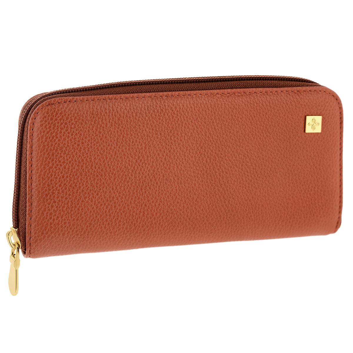 Портмоне женское Dimanche Corail, цвет: коралловый. 946946Стильное женское портмоне Corail выполнено из высококачественной натуральной кожи с матовой поверхностью. Портмоне закрывается на застежку-молнию. Внутри - четыре отделения для купюр, шесть кармашков для визиток, карман на молнии для монет, горизонтальный карман для чеков и бумаг, вшитый кармашек на молнии и шесть кармашков для визиток или кредитных карт. Портмоне упаковано в фирменную картонную коробку.