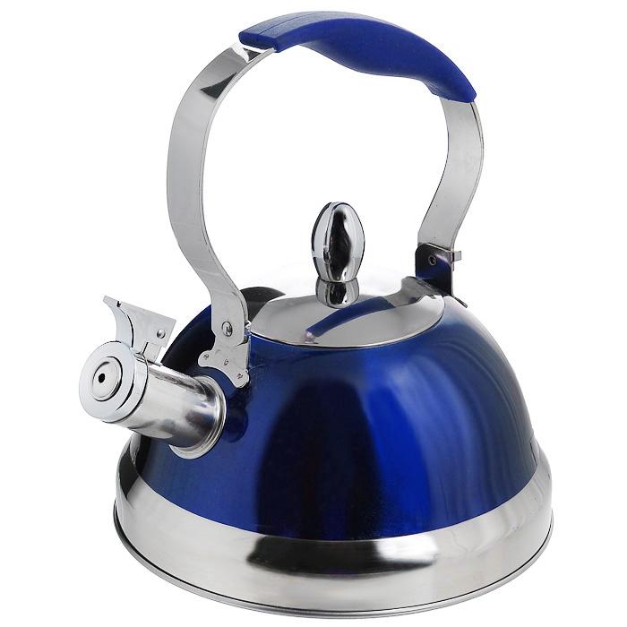 Чайник Mayer & Boch со свистком, цвет: синий, 2,8 л3285_синийЧайник Mayer & Boch изготовлен из высококачественной нержавеющей стали. Стильное внешнее покрытие синего цвета легко в уходе и обеспечивает безупречный внешний вид. Эргономичная стальная ручка с силиконовой вставкой делает использование чайника очень удобным и безопасным. Носик чайника имеет насадку-свисток, что позволит вам контролировать процесс подогрева или кипячения воды. Выполненный из качественных материалов, чайник Mayer & Boch при кипячении сохраняет все полезные свойства воды. Можно использовать на всех видах плит, включая индукционные. Можно мыть в посудомоечной машине.