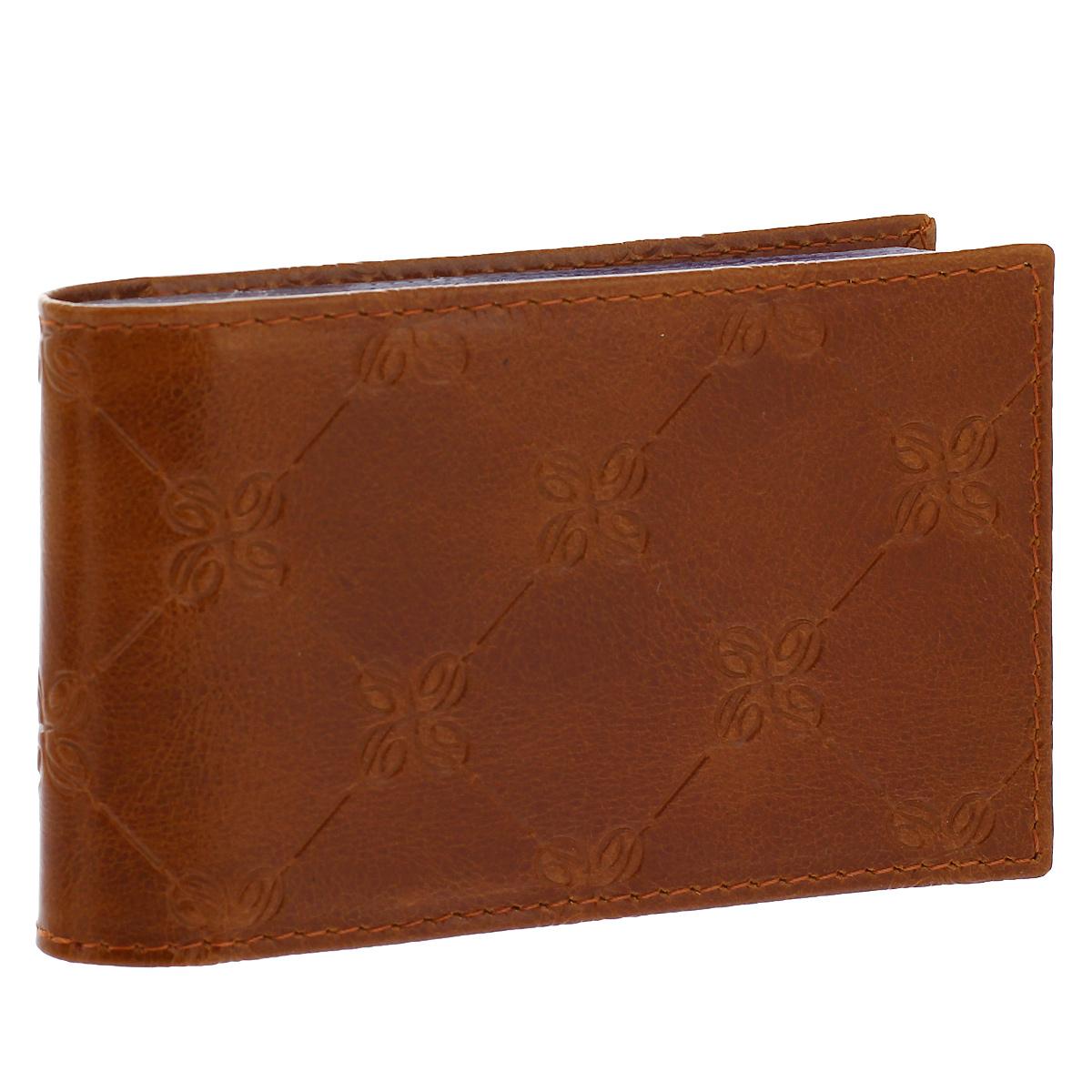 Визитница Dimanche Louis Brun, цвет: коричневый. 599599Визитница Louis Brun - это стильный аксессуар, который не только сохранит визитки и кредитные карты в порядке, но и, благодаря своему строгому дизайну и высокому качеству исполнения, блестяще подчеркнет тонкий вкус своего обладателя. Визитница выполнена из натуральной высококачественной кожи с декоративным тиснением и содержит внутри съемный блок из 16 прозрачных пластиковых вкладышей, рассчитанных на 32 визитки. Визитница Louis Brun станет великолепным подарком ценителю современных практичных вещей. Визитница упакована в фирменную коробку из картона.