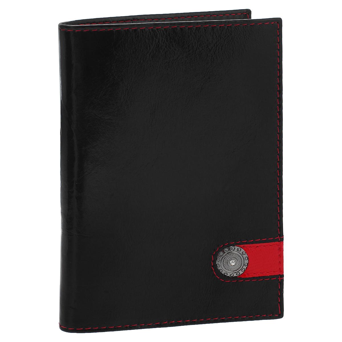 Обложка для паспорта Dimanche Panthere Noire, цвет: черный. 320320Обложка для паспорта Panthere Noire выполнена из натуральной кожи с глянцевой поверхностью и оформлен декоративным металлическим элементом со стразой. На внутреннем развороте - два кармашка из прозрачного пластика. Обложка не только поможет сохранить внешний вид ваших документов и защитит их от повреждений, но и станет стильным аксессуаром, который подчеркнет ваш неповторимый стиль. Обложка упакована в коробку из плотного картона с логотипом фирмы. Характеристики: Материал: натуральная кожа, ПВХ. Цвет: черный. Размер обложки: 9,5 см х 13,5 см х 1,5 см.