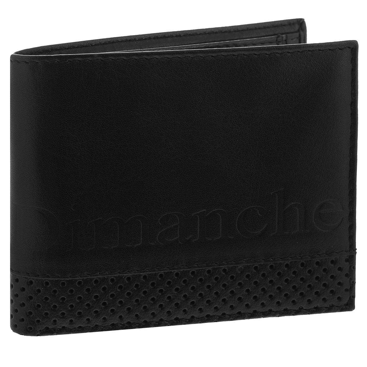 Портмоне мужское Dimanche Net, цвет: черный. 603603Портмоне Dimanche Net изготовлено из натуральной матовой кожи черного цвета и оформлено декоративной перфорацией. Внутри содержится два отделения для купюр, пять карманов для кредитных карт, потайной кармашек для мелких бумаг, кармашек для сим-карты и объемный карман для мелочи, который закрывается клапаном на кнопку. Стильное портмоне отлично дополнит ваш образ и станет незаменимым аксессуаром на каждый день. Упаковано в фирменную картонную коробку.