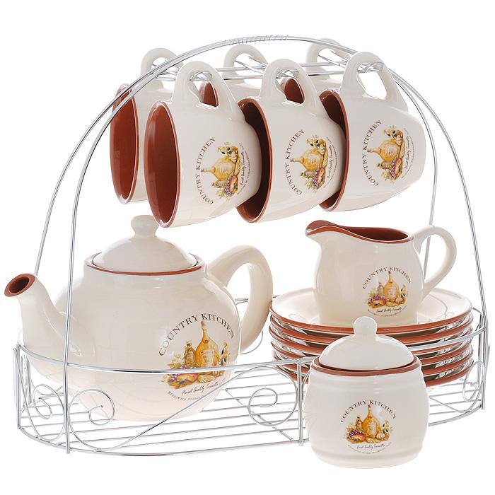 Сервиз чайный Terracotta Сардиния, цвет: белый, терракотовый, 15 предметовTLYHD0014-BT-ALЧайный сервиз Terracotta Сардиния состоит из шести чашек, шести блюдец, чайника, сахарницы и молочника. Изделия изготовлены из высококачественной глазурованной керамики. Внешние стенки - белого цвета, внутренние - терракотового цвета. Простота и лаконичность изделий делает набор простым в уходе и использовании. В комплекте - металлическая подставка с крючками для кружек. Чайный сервиз украсит стол к чаепитию и порадует вас и ваших гостей необычным дизайном и изящными формами. Станет чудесным подарком к любому случаю.