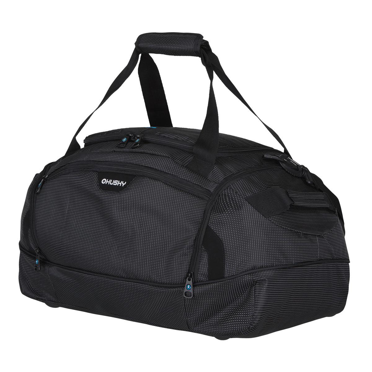 Сумка спортивная Husky Grape 40 L, цвет: черныйУТ-000048763Комфортная и практичная спортивная сумка Grape 40 L. Особенности модели: Водонепроницаемая ткань, Два боковых кармана, Внутренний органайзер, Съемный наплечный ремень.