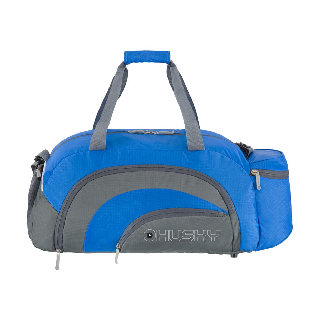 Сумка спортивная Husky Glade 38, цвет: синийУТ-000057662Комфортная и практичная спортивная сумка Glade 38. Особенности модели: Водонепроницаемая ткань, Карман для обуви с вентиляцией, Три наружных кармана, Внутренний органайзер, Съемный наплечный ремень.