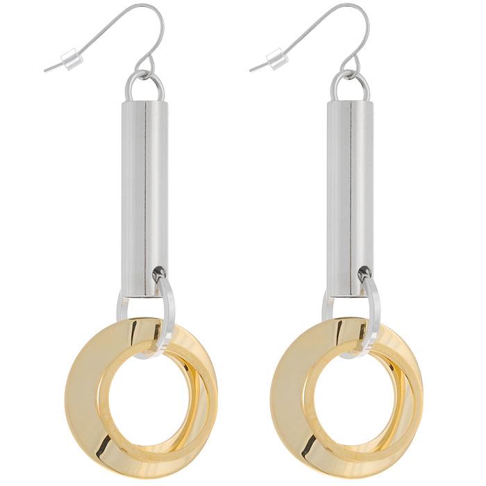 Серьги To Be Queen, цвет: серебристый, золотистый. 06FER072/3906FER072/39Оригинальные серьги To Be Queen, выполненные из металла с зеркальной полировкой, украшенные подвесками в виде трубочек и колец. Необычные серьги помогут создать вам свой неповторимый стиль. Замок-петля с пластиковым стоплером обеспечивает надежное крепление серьги. Модное украшение блестяще подчеркнет изысканный вкус, женственность и красоту своей обладательницы и поможет внести разнообразие в привычный образ. Характеристики: Материал: металл, пластик. Длина серьги: 8 см. Диаметр колец: 2,5 см.
