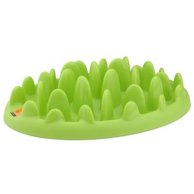 Миска интерактивная Northmate Green Mini для маленьких собак и щенков, цвет: светло-зеленый10107Интерактивная миска Northmate Green Mini для маленьких собак и щенков, изготовленная из полипропилена, напоминает кусочек травы. Необходимое количество корма разбрасывается по миске. Таким образом, этот кусочек травы превращает кормление вашего питомца в сложную игру - собака вынуждена добывать еду, подталкивая кусочки корма между травинками миски. Этот процесс значительно продлевает время приема пищи и снижает риск быстрого заглатывания корма и вздутия желудка у питомца. В результате более здорового процесса пищеварения собака тоже становится более здоровой и счастливой. Большинство собак в состоянии съесть гораздо больше и быстрее, чем необходимо для их здоровья. Такое поведение обусловлено их инстинктами, и мы контролируем его дозированием каждой порцией еды. Однако, для того чтобы питомец был здоров, не менее важно контролировать и скорость потребления еды. Это делается путем затруднения доступа к ней. Миска вмещает примерно 200 мл. воды. Ее...