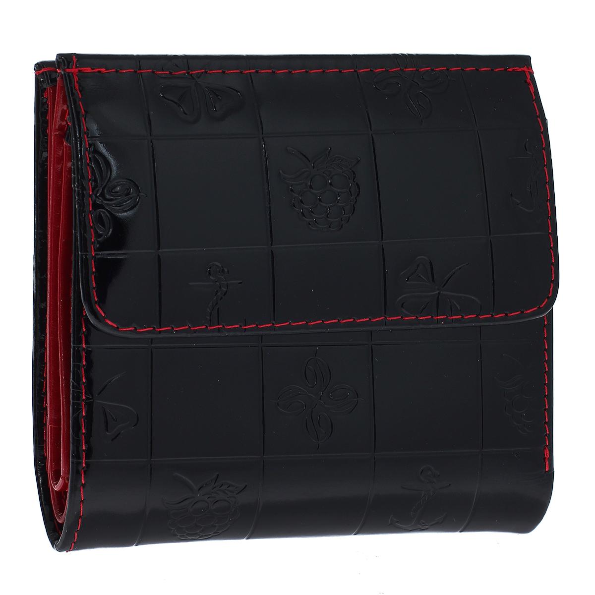Кошелек женский Dimanche Bonbon, цвет: черный. 520520Кошелек Dimanche Bonbon изготовлен из натуральной лакированной кожи черного цвета с декоративным тиснением. Закрывается на магнитную кнопку. На передней стенке расположен объемный карман для мелочи, закрывающийся клапаном на кнопку. Внутри кошелька содержится 2 отделения для купюр, дополнительный карман на молнии, 2 прорезных кармана для пластиковых карт, кармашек для сим-карты, 2 потайных вертикальных кармашка для мелких бумаг и окошко для фотографии. Внутри кошелек отделан атласным полиэстером красного цвета с рисунком. Фурнитура - золотистого цвета. Стильный кошелек отлично дополнит ваш образ и станет незаменимым аксессуаром на каждый день. Упакован в фирменную картонную коробку коричневого цвета.