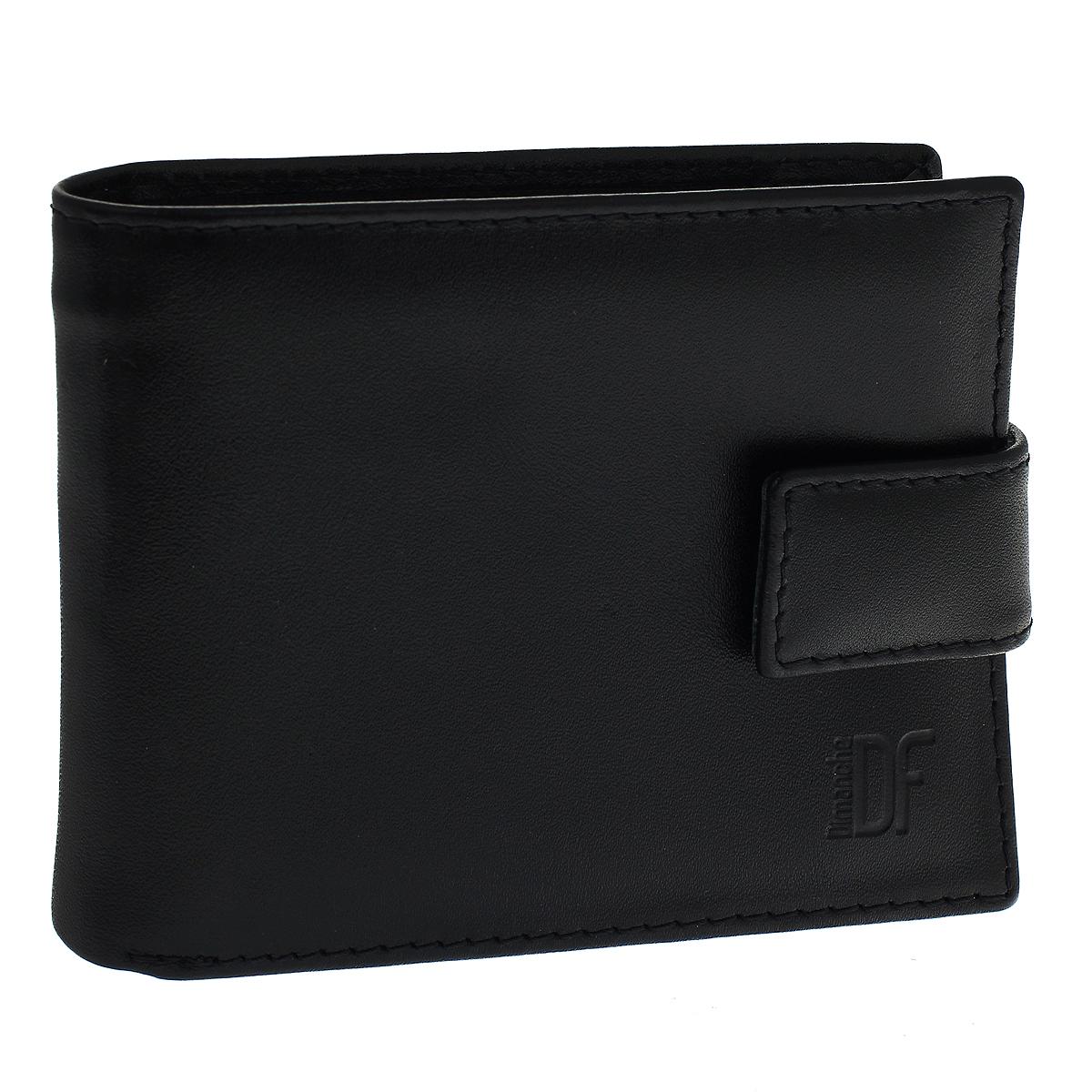 Портмоне мужское Dimanche Bond Elite, цвет: черный. 701701Портмоне Dimanche Bond Elite изготовлено из натуральной кожи черного цвета. Закрывается хлястиком на магнитную кнопку. Внутри содержится 2 отделения для купюр, 8 карманов для кредитных карт, 2 потайных кармашка для мелких бумаг, а также откидное отделение с 2 карманами для пластиковых карт, кармашком для сим-карты и окошком для фотографии. Внутри портмоне отделано атласным полиэстером черного цвета с узором. С задней стороны изделия расположен вшитый карман на молнии для мелочи. Фурнитура - серебристого цвета. Стильное портмоне отлично дополнит ваш образ и станет незаменимым аксессуаром на каждый день. Упаковано в фирменную картонную коробку коричневого цвета.