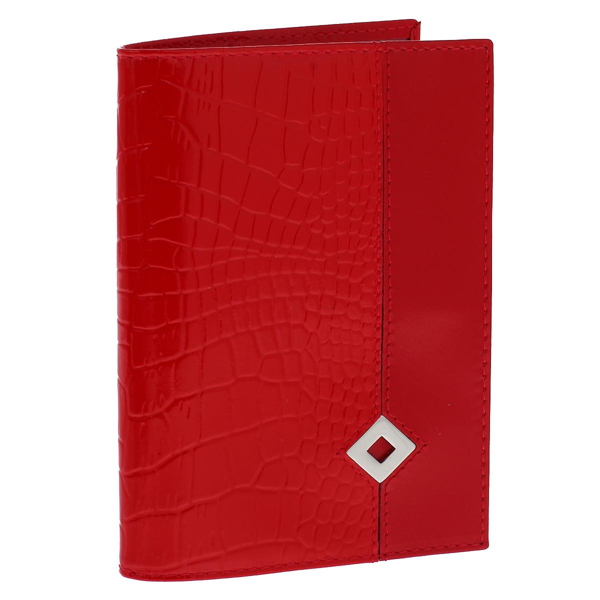 Обложка для паспорта Dimanche Papillon Rouge, цвет: красный. 330330Обложка для паспорта Dimanche Papillon Rouge изготовлена из натуральной кожи красного цвета с декоративным тиснением под рептилию. Обложка украшена металлическим значком в виде ромба. Внутри обложка отделана атласным текстилем красного цвета с рисунком. На внутреннем развороте содержится два кармана из прозрачного пластика. Стильная обложка не только защитит ваши документы, но и станет стильным аксессуаром, подчеркивающим ваш образ. Изделие упаковано в фирменную коробку коричневого цвета с логотипом фирмы Dimanche.