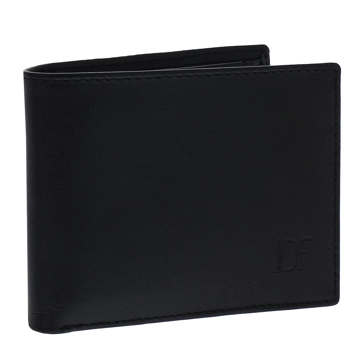 Портмоне мужское Dimanche Bond, цвет: черный. 965965Портмоне Dimanche Bond изготовлено из натуральной кожи черного цвета. Внутри содержится 2 отделения для купюр, 5 карманов для кредитных карт, 2 потайных кармашка для мелких бумаг, кармашек для сим-карты и объемный карман для мелочи, который закрывается клапаном на кнопку. Внутри кошелек отделан атласным полиэстером черного цвета с узором. Стильное портмоне отлично дополнит ваш образ и станет незаменимым аксессуаром на каждый день. Упаковано в фирменную картонную коробку коричневого цвета.