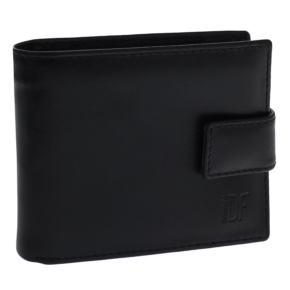 Портмоне мужское Dimanche Bond, цвет: черный. 964964Портмоне Dimanche Bond изготовлено из натуральной кожи черного цвета. Закрывается хлястиком на кнопку. Внутри содержится 2 отделения для купюр, дополнительный карман на молнии, 6 карманов для кредитных карт, 2 потайных кармашка для мелких бумаг и объемный карман для мелочи, который закрывается клапаном на кнопку. Внутри кошелек отделан атласным полиэстером черного цвета с узором. Фурнитура - серебристого цвета. Стильное портмоне отлично дополнит ваш образ и станет незаменимым аксессуаром на каждый день. Упаковано в фирменную картонную коробку коричневого цвета.