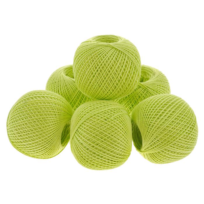 Нитки вязальные Ирис, хлопчатобумажные, цвет: желто-зеленый (4702), 150 м, 25 г, 6 шт0211102270778