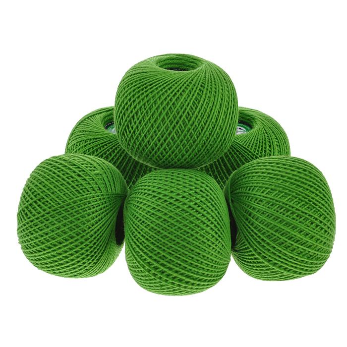 Нитки вязальные Ирис, хлопчатобумажные, цвет: зеленый (3908), 150 м, 25 г, 6 шт0211102201778