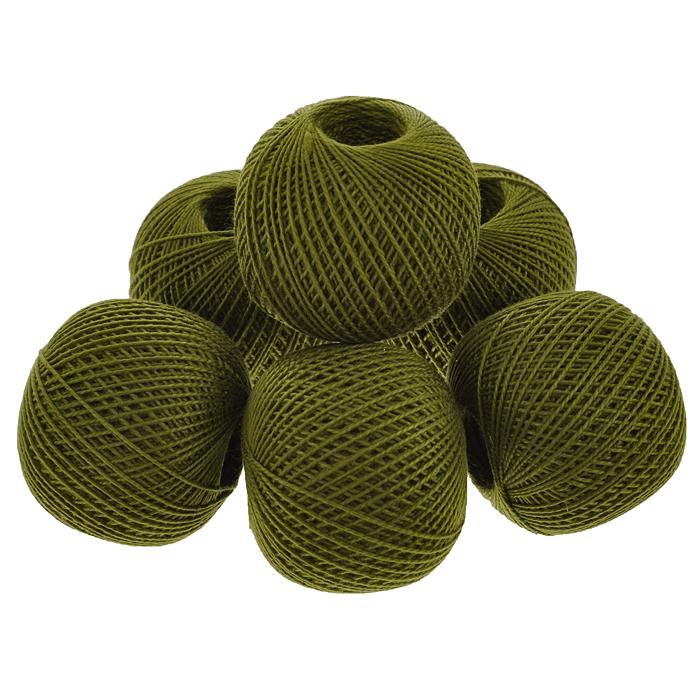 Нитки вязальные Ирис, хлопчатобумажные, цвет: защитный (4506), 150 м, 25 г, 6 шт0211102256778