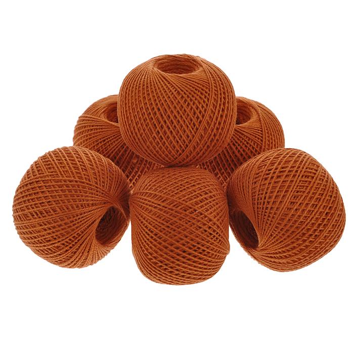Нитки вязальные Ирис, хлопчатобумажные, цвет: медный (1608), 150 м, 25 г, 6 шт0211101992778