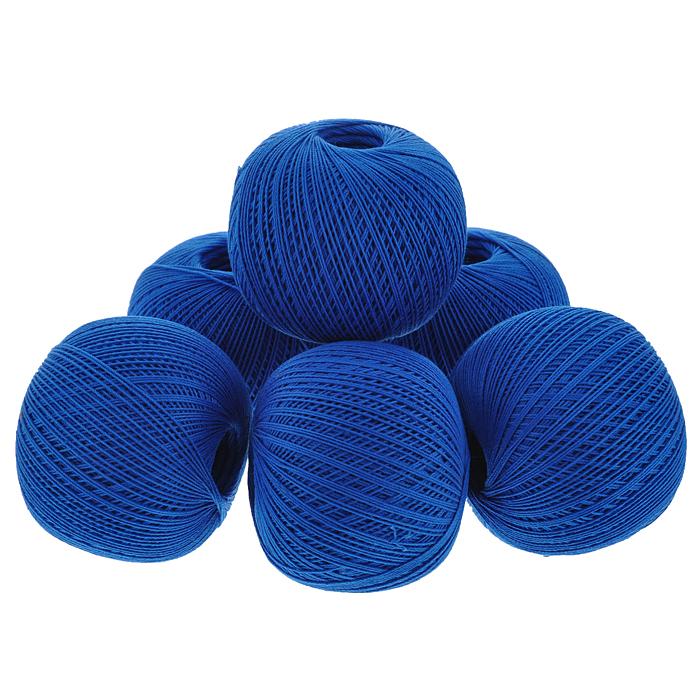 Нитки вязальные Роза, хлопчатобумажные, цвет: синий (2714), 320 м, 50 г, 6 шт0212502105778