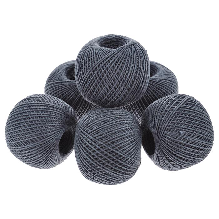 Нитки вязальные Ирис, хлопчатобумажные, цвет: темно-серый (7206), 150 м, 25 г, 6 шт0211102501778