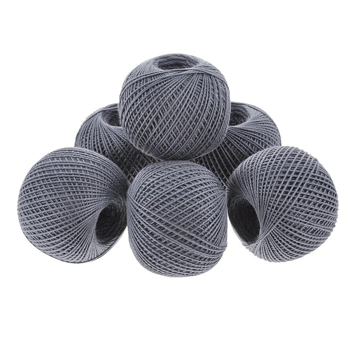 Нитки вязальные Ирис, хлопчатобумажные, цвет: серый (7004), 150 м, 25 г, 6 шт0211102481778