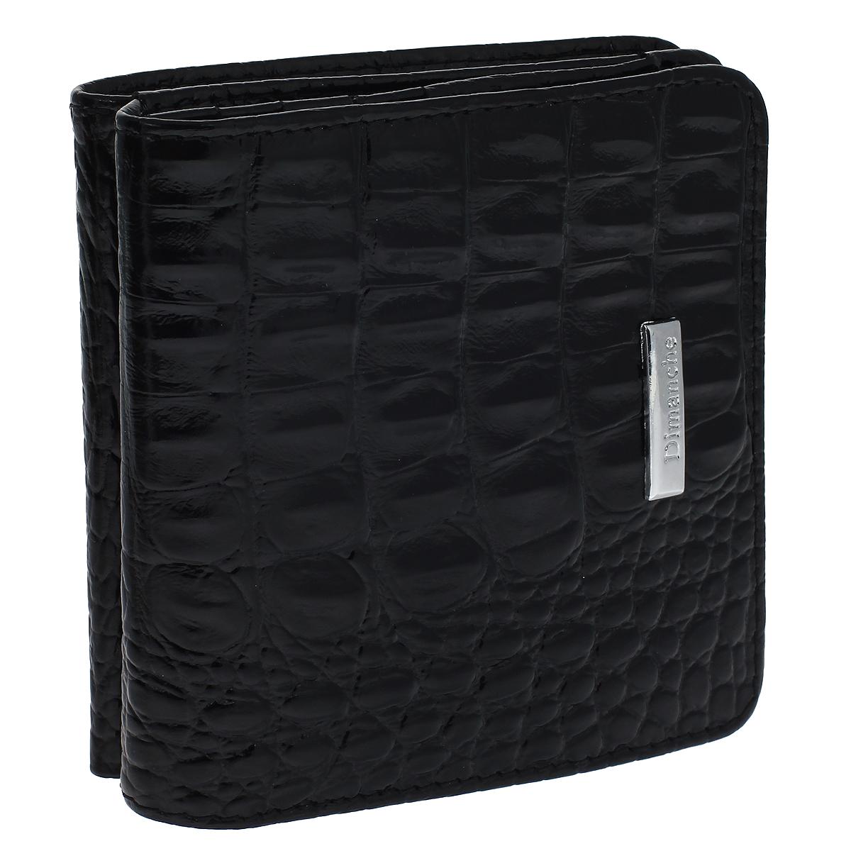 Кошелек мужской Dimanche Loricata, цвет: черный. 418418Кошелек Dimanche Loricata изготовлен из натуральной кожи черного цвета с декоративным тиснением под рептилию. Кошелек имеет два отделения. Первое отделение закрывается на кнопку; внутри содержится 2 отделения для купюр. Второе отделение, предназначенное для хранения мелочи, закрывается клапаном на кнопку и имеет 8 карманов для пластиковых карт. Внутри кошелек отделан атласным полиэстером черного цвета с узором. Фурнитура - серебристого цвета. Стильный кошелек отлично дополнит ваш образ и станет незаменимым аксессуаром на каждый день. Упакован в фирменную картонную коробку коричневого цвета. Характеристики: Материал: натуральная кожа, полиэстер, металл. Цвет: черный. Размер кошелька (ДхШхВ): 9 см х 9,5 см х 2,5 см.