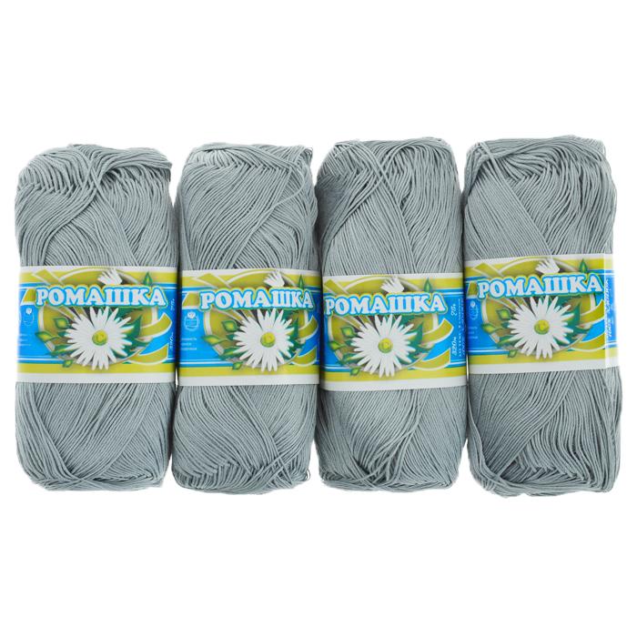 Нитки вязальные Ромашка, хлопчатобумажные, цвет: серый (7002), 320 м, 75 г, 4 шт0211302479778